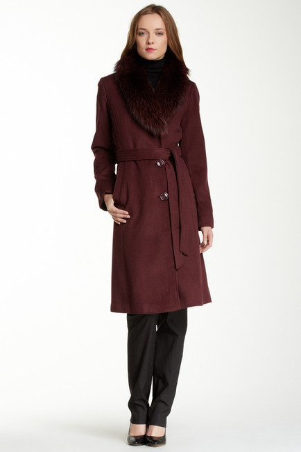 top brands best shoes hot new products Ellen Tracy Genuine Fox Fur Collar Wool Blend Coat, $680 ...