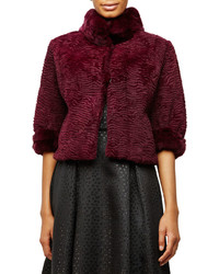 Belle Fare Half Sleeve Rabbit Fur Cropped Jacket