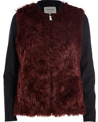 River Island Dark Red Contrast Sleeve Faux Fur Jacket