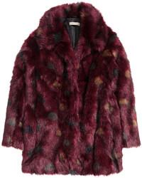 H&M Faux Fur Jacket Burgundy Ladies