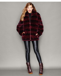 The Fur Vault Rabbit Fur Bomber Jacket