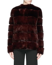 Yves Salomon Suede Stripe Rabbit Fur Jacket
