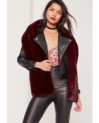 Missguided Oversized Faux Fur Scarf Burgundy