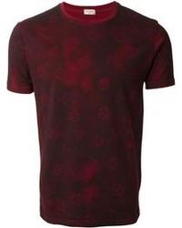 Burgundy Geometric Crew-neck T-shirt