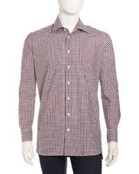 Neiman Marcus Check Long Sleeve Shirt Navyburgundy