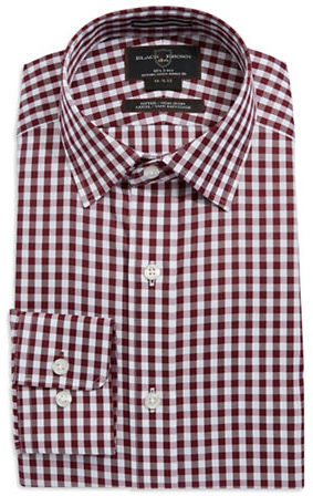 Black Brown 1826 Fitted Gingham Pattern Dress Shirt | Where to buy ...