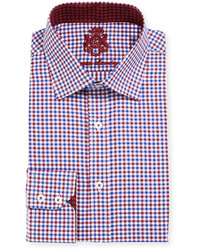 English Laundry Gingham Cotton Dress Shirt Redblue