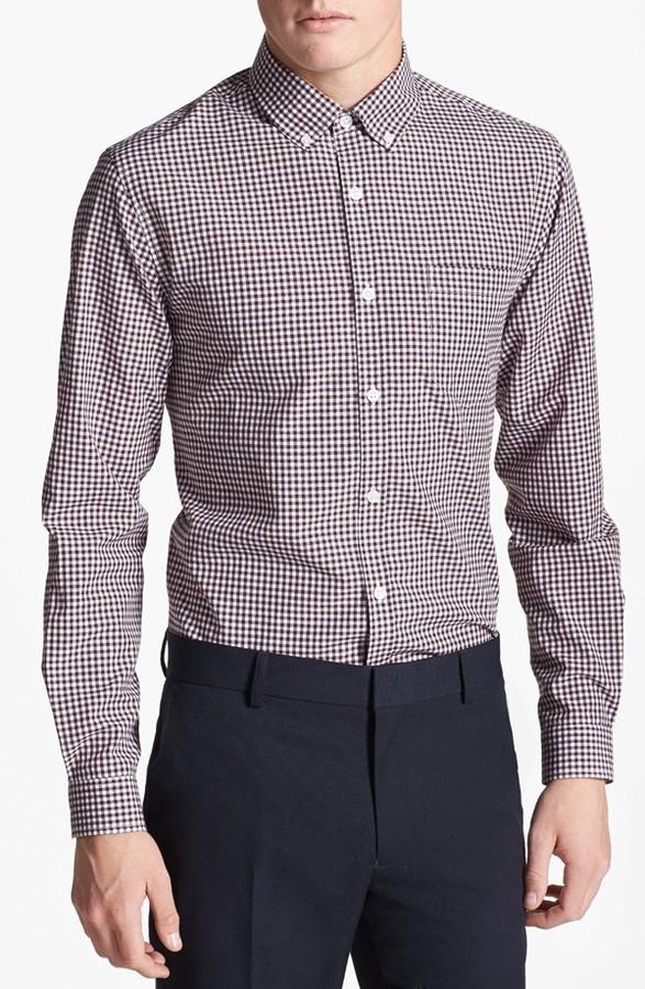 Burgundy gingham dress shirt topman slim fit gingham for Burgundy fitted dress shirts
