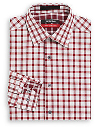 Saks Fifth Avenue Trim Fit Gingham Print Cotton Dress Shirt