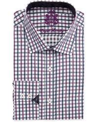 English Laundry Two Tone Check Dress Shirt Burgundynavy