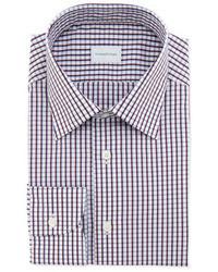 Ermenegildo Zegna Woven Check Dress Shirt Burgundyblue