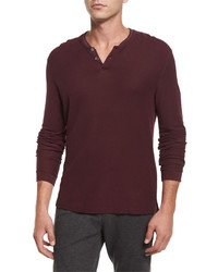 Atm Long Sleeve Pique Henley Shirt Burgundy