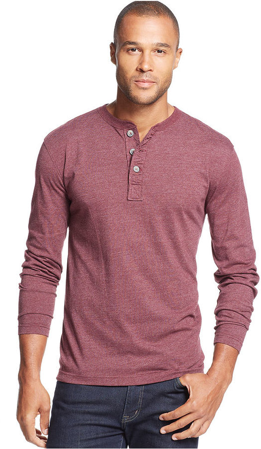 John ashford solid marled henley shirt where to buy for Kim kardashian henley shirt