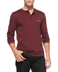 Lacoste Long Sleeve Pima Henley Dark Red