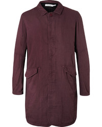 Burgundy Herringbone Overcoat