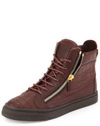 Giuseppe Zanotti Croc Embossed Leather High Top Sneaker Burgundy