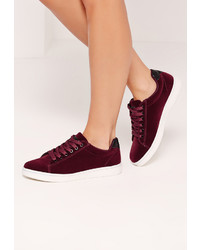 Missguided Red Velvet Glitter Tab High Top Sneakers