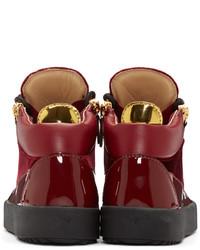 Giuseppe Zanotti Red Velvet London High Top Sneakers