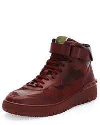 Valentino Rock Be Camo High Top Sneaker Burgundy