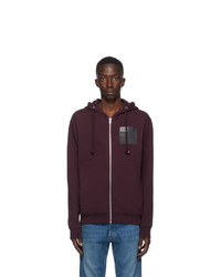 Maison Margiela Burgundy Stereotype Zip Up Hoodie