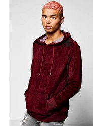 Boohoo Floral Embroidered Velour Hoodie
