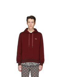 Dolce and Gabbana Red Branded Plate Hoodie