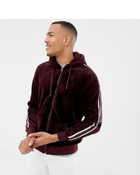 Soul Star Tall Zip Through Teddy Hoodie With Taping
