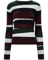 Burgundy Horizontal Striped Crew-neck Sweater