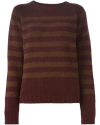 Women's Burgundy Horizontal Striped Crew-neck Sweaters by Marni ...