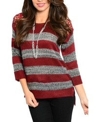 Please n thank you burgundy grey sweater medium 352660