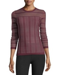 Two way street sheer striped sweater plum medium 756303