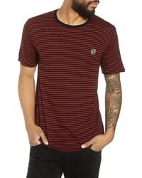 Burgundy Horizontal Striped Crew-neck T-shirt