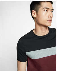 Express Striped Chest Crew Neck Tee