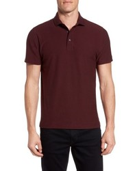 Burgundy Horizontal Striped Polo