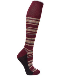 Marni Metallic Striped Cotton Blend Socks Burgundy