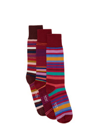 Paul Smith Three Pack Red Stripe Socks