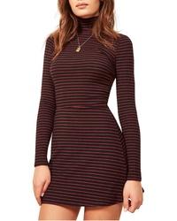 Burgundy Horizontal Striped Sweater Dress