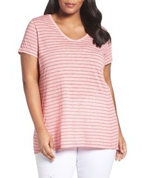 Sejour Plus Size V Neck Stripe Tee
