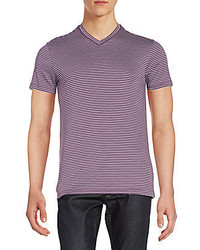 Saks Fifth Avenue Striped V Neck Tee