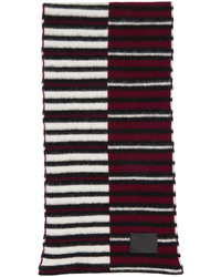 Paul Smith Burgundy Off White Inverted Stripe Scarf