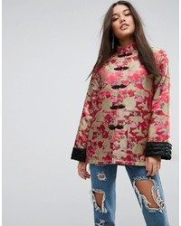 Asos Kimono Jacket In Jacquard With Turn Back Cuff