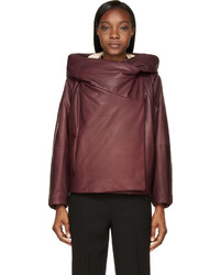 Chloé Plum Insulated Hooded Calfskin Jacket