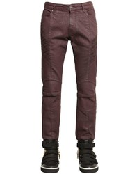 Pierre Balmain 165cm Biker Coated Stretch Denim Jeans