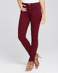 Jen 7 Brush Sateen Skinny Jeans In Burgundy