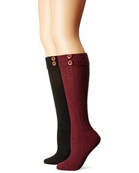 Steve Madden 9 11 Button Cuff Knee High Sock 2 Pack