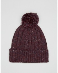 Asos Cable Bobble Beanie In Burgundy Nep