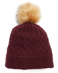 Cashmere beanie with faux fur pom burgundy medium 6860825