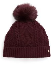 London cable knit faux fur pompom beanie medium 6860832