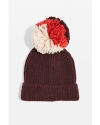 Mixed Big Pom Pom Knit Beanie Hat