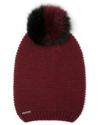 Slouchy knit beanie with genuine fox fur pompom burgundy medium 6860824